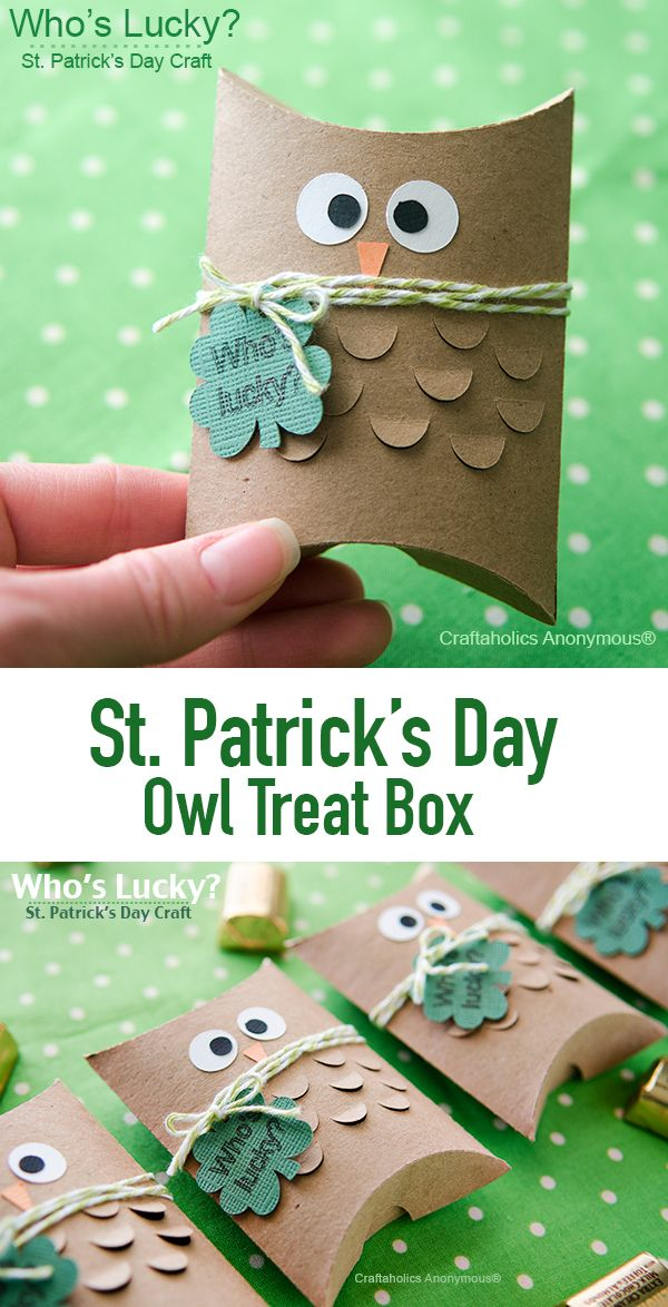 Adorable St. Patrick's Day Owl Treat boxes || The kids will love them! Tuck chocolate coins inside the box for a cute St. Patrick's Day gift idea.