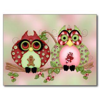 Mr and Mrs Christmas Sweets Owl PostCard