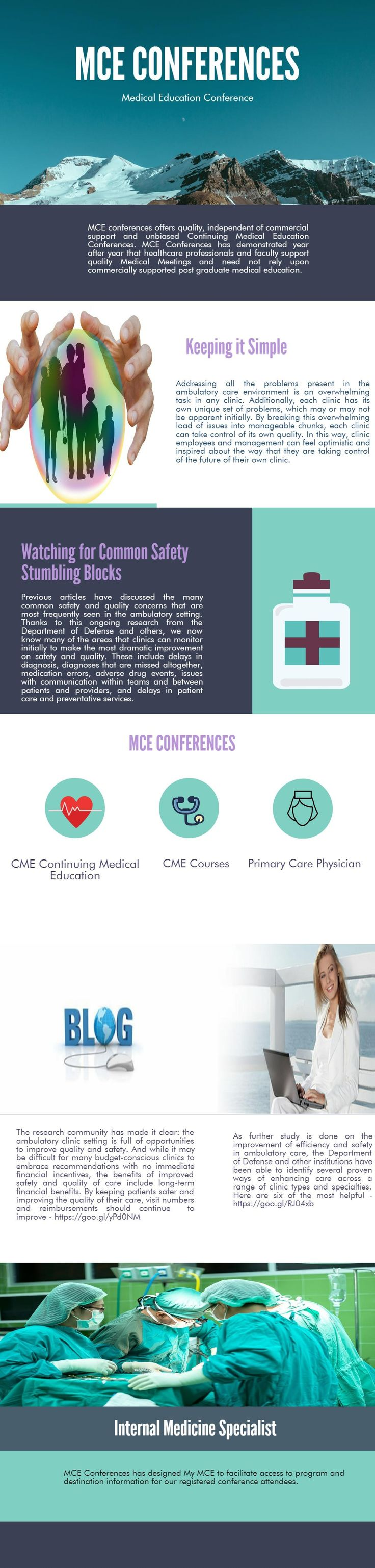 MCE conferences offers quality, independent of commercial support and unbiased Continuing Medical Education Conferences. MCE Conferences has demonstrated year after year that healthcare professionals and faculty support quality Medical Meetings and need not rely upon commercially supported post graduate medical education.
