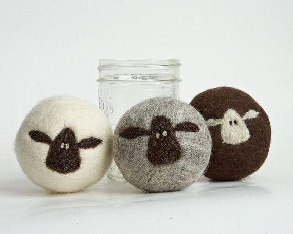 Fieltro lana secadora bolas de Set de 3 ovejas por lynnslids