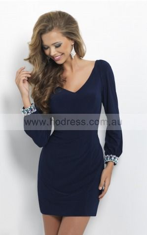 V-neck Long Sleeves Sheath Zipper Short Cocktail Dresses aeaa307248--Hodress
