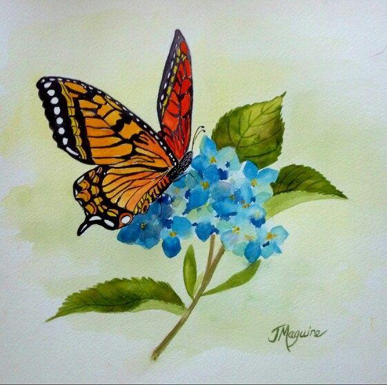 Tattoo Ideas Not Flowers: Monarch Butterfly On Hydrangea Watercolor By Joan Maguire