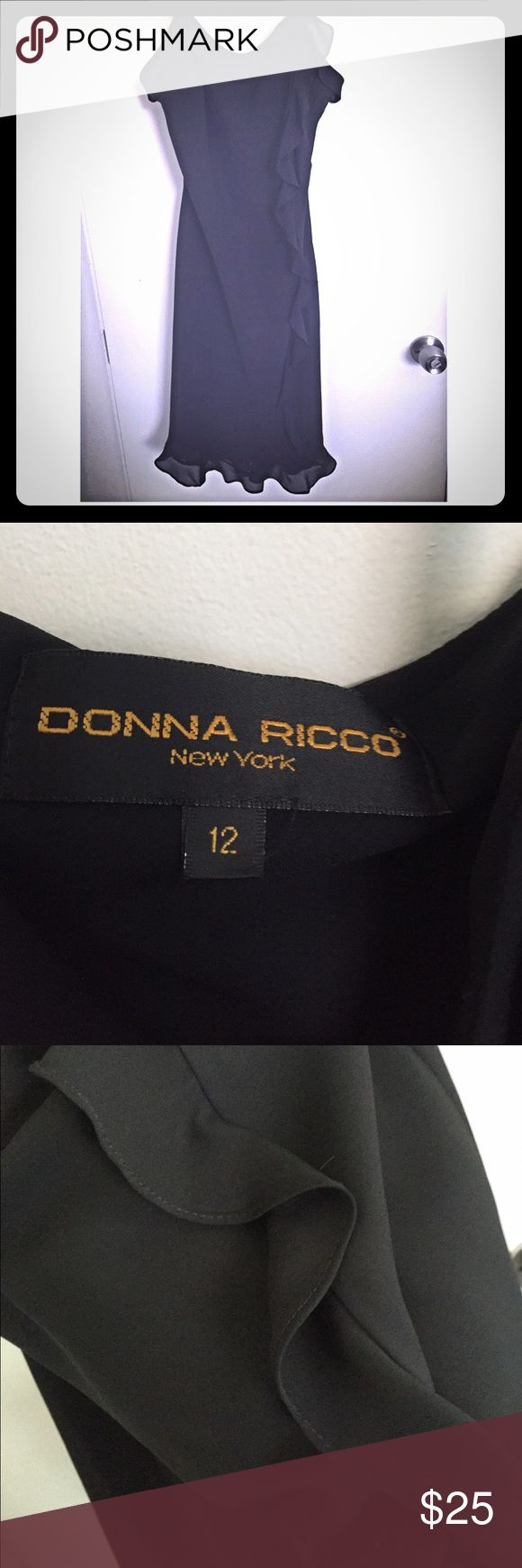 Donna Ricco Spaghetti Strap Dress Lined black polyester Donna Ricco dress has a ruffle down the left side and falls below the knee. There are still a few hot summer nights left and this would be great for dancing. Excellent condition. Donna Ricco Dresses Midi