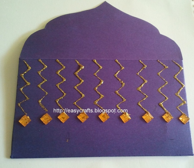 Indian Handicrafts: Designer gift envelopes for cash (Plain violet)