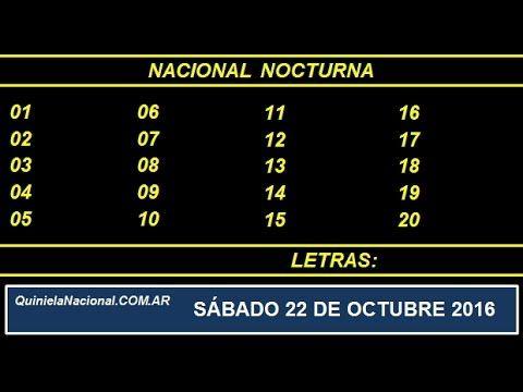 Quiniela - El Video oficial de la Quiniela Nocturna Nacional del día Sabado 22 de Octubre de 2016. Info: www.quinielanacional.com.ar