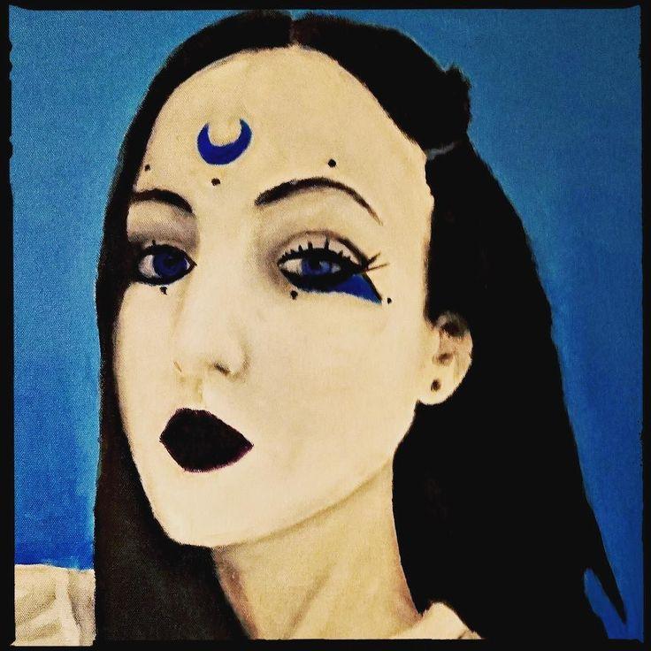 Beauty is only temporary but your mind lasts you a lifetime. Alicia Machado . . . #beauty #portrait #girl #woman #face #art #painting #artwork #crescentmoon #moon #kava #teahouse #artforsale #kavabar #hookah #tea #largo #tampabay #florida #floridalife #goodvibes #thingstodo