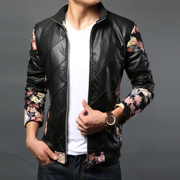 Korean Slim Men's PU Leather Coat Jacket Flower Long Sleeve/79545 via AmaSell. Click on the image to see more!