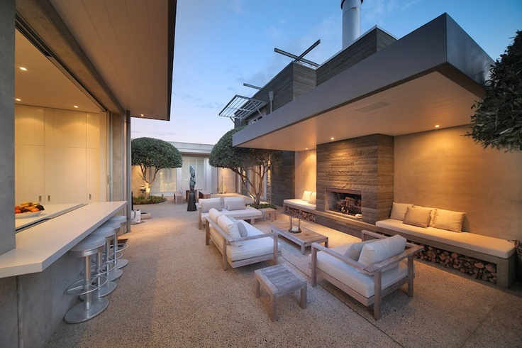 Outdoor fireplace & fab architecture
