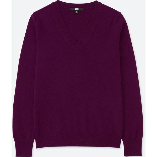UNIQLO Women's Cashmere V-Neck Sweater (110 NZD) ❤ liked on Polyvore featuring tops, sweaters, purple, pure cashmere sweaters, v neck sweater, dressy sweaters, cashmere sweater and purple cashmere sweater