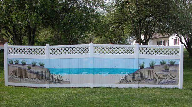 Fence Mural The Beach Backyard Fences Fence Art