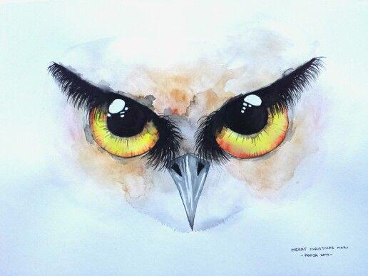 Owl Eyes III, watercolor
