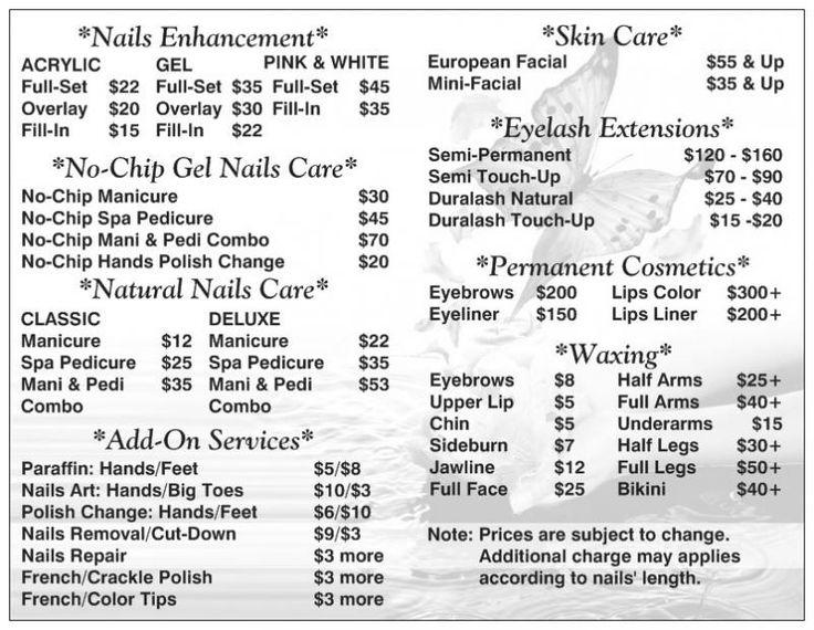 Best  Nail Salon Prices Ideas On   Nail Prices