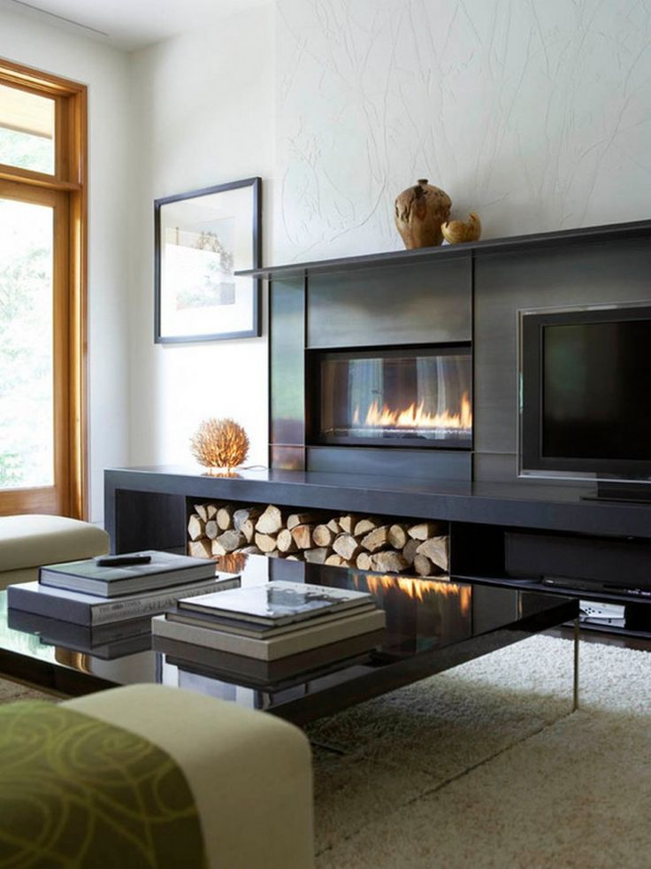 Living Room Small Design With Fireplace And Black TV Cabinet Also Using White