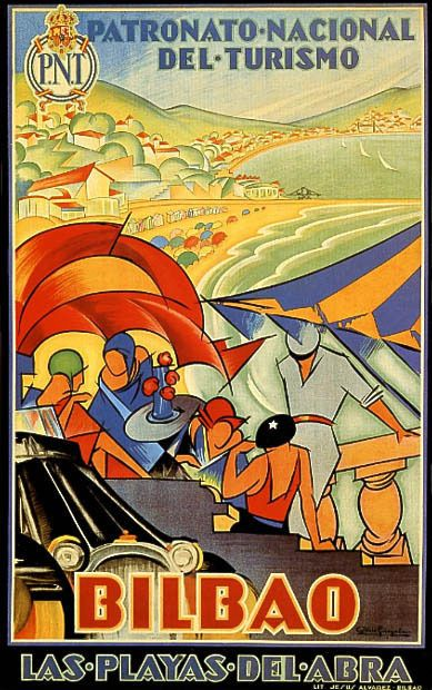 Bilbao (Spain - Basque Country) vintage travel poster c. 1930