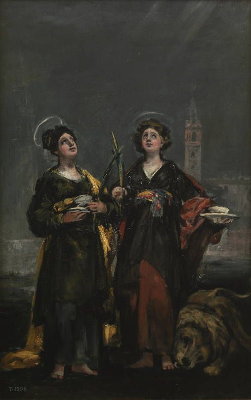"""Francisco de Goya: """"Santa Justa y Santa Rufina"""". Oil on panel, 45 x 29 cm, 1817. Museo Nacional del Prado, Madrid, Spain"""