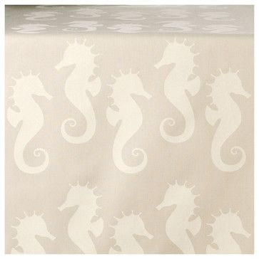 Sassy Seahorse Eco Table Runner, Cream/Seagrass - beach-style - Table Runners - Wabisabi Green