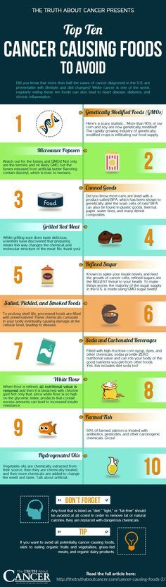 Some foods are worse for you than others and are increasing your risk of many conditions and diseases. We've put together a little info graphic for you of the TOP 10 cancer causing foods to avoid. While cancer is one of the worst, regularly eating the cancer causing foods in our top ten list can also lead to heart disease, diabetes, chronic inflammation, and so much more. // The Truth About Cancer