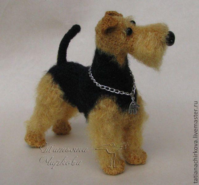 Купить Вельштерьер - игрушка ручной работы, собачка, сувенир, интерьерная игрушка, авторская ручная работа