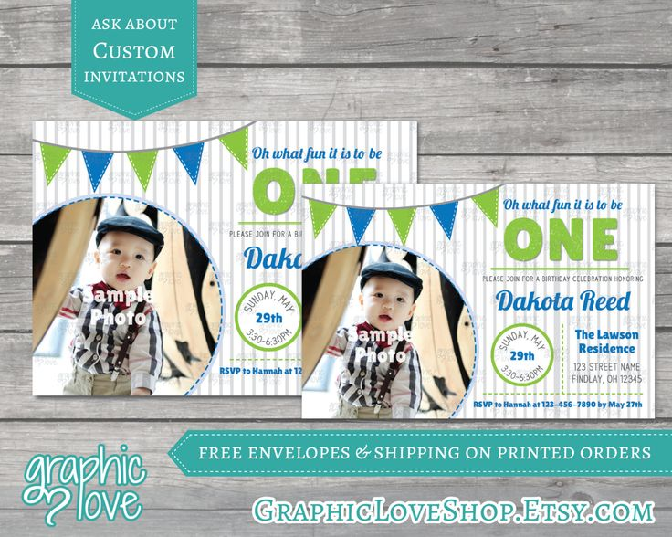 Oh What Fun to be ONE Personalized Birthday Invitation, Photo | Blue, Green | Digital or Printed, 4x6 or 5x7, Envelopes, FREE US Shipping by GraphicLoveShop on Etsy