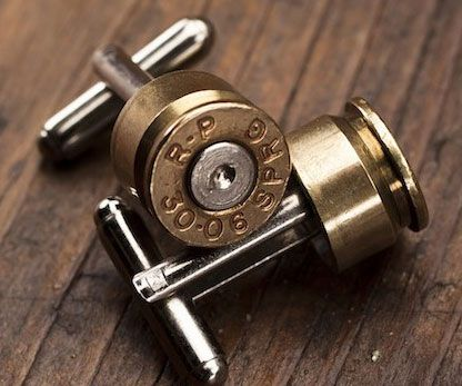 Show off your violent passion for firearms at your next formal affair with the bullet cuff links. Made from recycled bullets, each cuff link is polished to a beautiful shine and features a contrasting fired primer for a dramatic effect that'll make your suit pop.