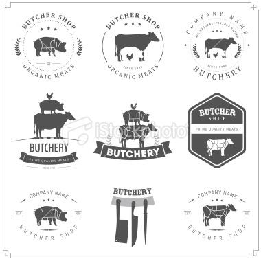 Set of butcher shop labels and design elements Royalty Free Stock Vector Art Illustration