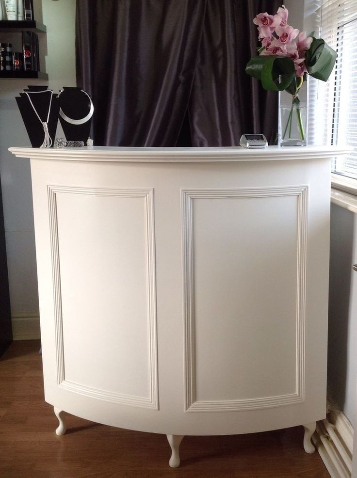 Curved Salon Reception Desk - French style, shabby chic, painted cream