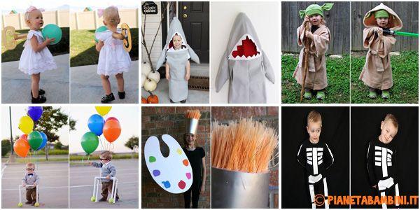 Vi mostriamo le immagini di 30 costumi per bambini fai da te molto semplici e veloci da realizzare anche all'ultimo momento per Carnevale o Halloween