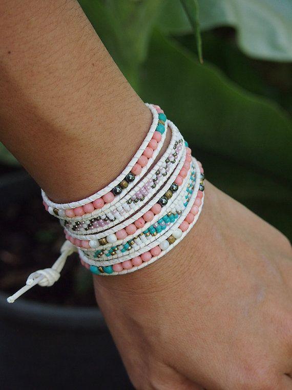 5 times Wrap Bracelet, Pink Coral, Crystal beaded mix, Boho bracelet, Bohemian bracelet, Beadwork bracelet