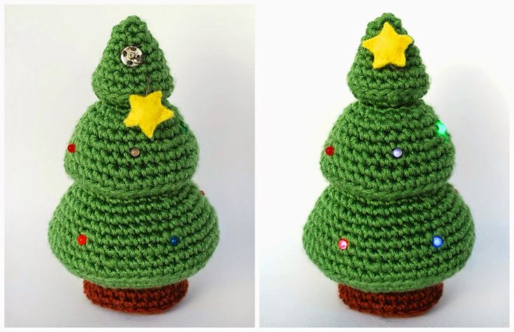 Christmas Tree with Leds - Free Amigurumi Pattern (English pattern at the bottom) http://crafteandoqueesgerundio.blogspot.de/2014/12/patron-arbol-navidad-pattern-christmas-tree.html