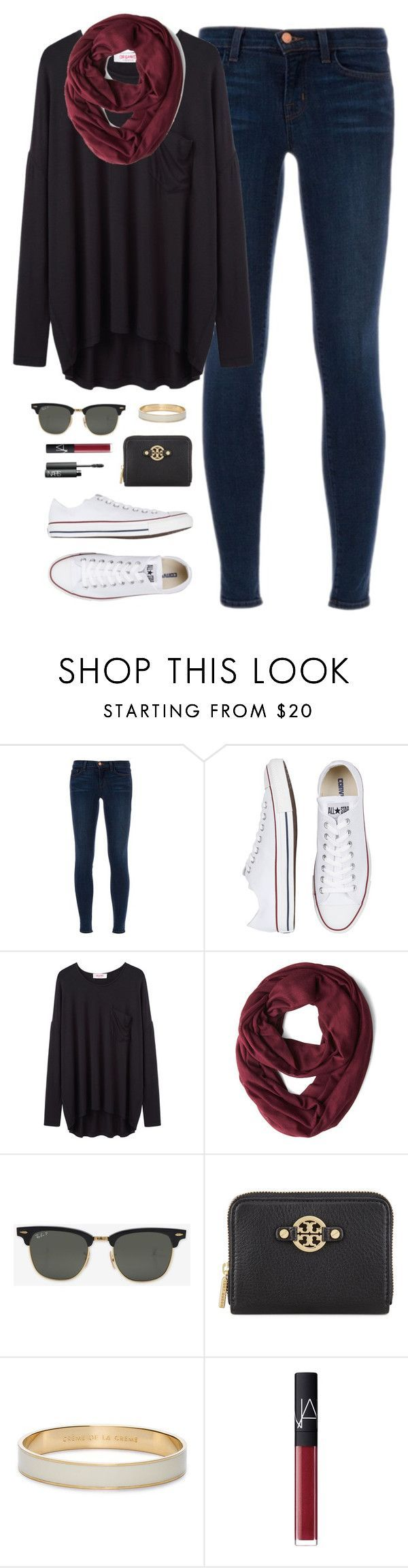 """cold day, dark clothes"" by classically-preppy ❤ liked on Polyvore featuring J Brand, Converse, Organic by John Patrick, Ray-Ban, Tory Burch, Kate Spade and NARS Cosmetics"