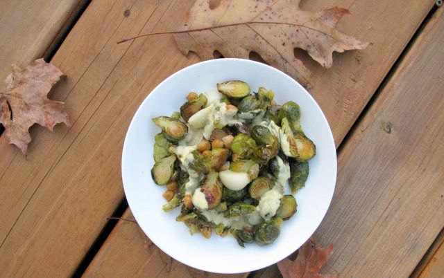 {brussels sprouts & chickpeas with maple mustard sauce}