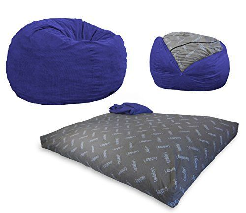 """CHAIR CONVERTS TO A STANDARD KING-SIZE BED. A great night's sleep is in the bag. Comes complete with (1) King Chair Cover and (1) King Bed insert. Seats 2 Adults. 60"""" Wide. Sleeps 2 Adults. Patented King Bed inside (76 x 80 x 10 inches). Changeable, Washable & Dryable Cover. Filled... more details available at https://furniture.bestselleroutlets.com/game-recreation-room-furniture/bean-bags/product-review-for-cordaroys-navy-blue-corduroy-convertible-bean-bag-chai"""