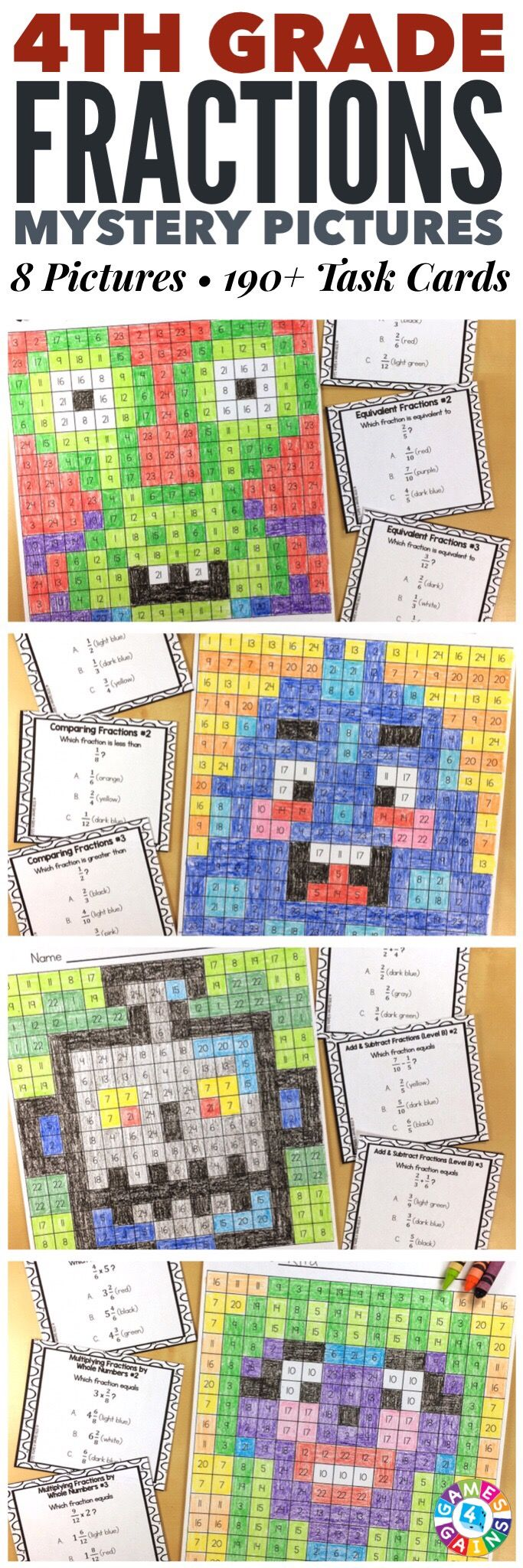 """""""I LOVE these mystery pictures for reinforcing concepts!"""" These 4th Grade Fractions Mystery Pictures are perfect for practicing key 4th grade Common Core fractions standards. This set includes 8 different pictures and over 190 task cards covering equivalent fractions, comparing fractions, adding fractions, subtracting fractions, converting mixed numbers and improper fractions, multiplying fractions by whole numbers, and converting fractions to decimals!"""