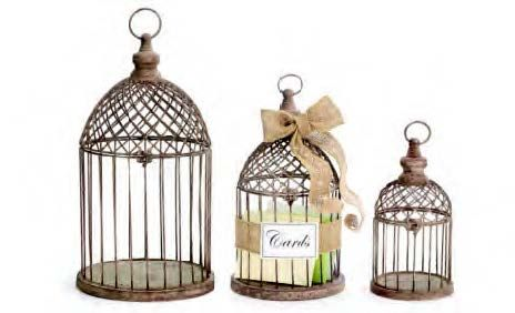 Our birdcages can be included in a centerpiece or serve as unique card holders! #burtonandburton #birdcages