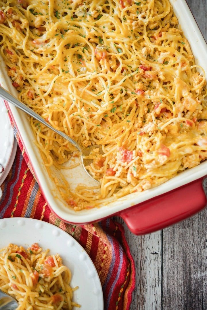 Low Fat Taco Spaghetti Casserole made with lean ground turkey & spaghetti combined with a low fat cheesy Mexican sauce makes the perfect weeknight meal.