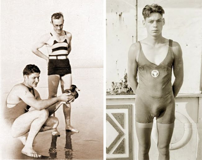 La mode des années 20.  A droite : Johnny Weissmuller,  plusieurs fois médaillé d'or en natation aux jeux olympiques de 1924.