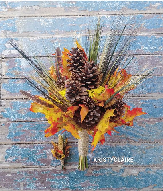Fall Pine Cone Autumn Leaf and Wheat Bridal by KRISTYCLAIRE #wedding #bridalbouquet #bridesmaid #orangewedding #fall #fallwedding #autumnwedding #autumn #hunting #huntingwedding #pinecones #pinenuts #pineconewedding #yarrow #yellow #orange #fall #camouflage #countrytheme #countrywedding #country #rustic #rusticwedding #fallleaves #twine #acorn #wheat #acorn #wheat #brown