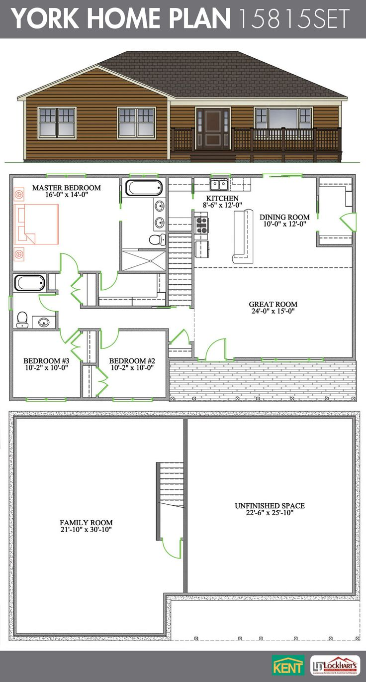 York 3 bedroom, 2 bathroom Home Plan. Features: cathedral ...