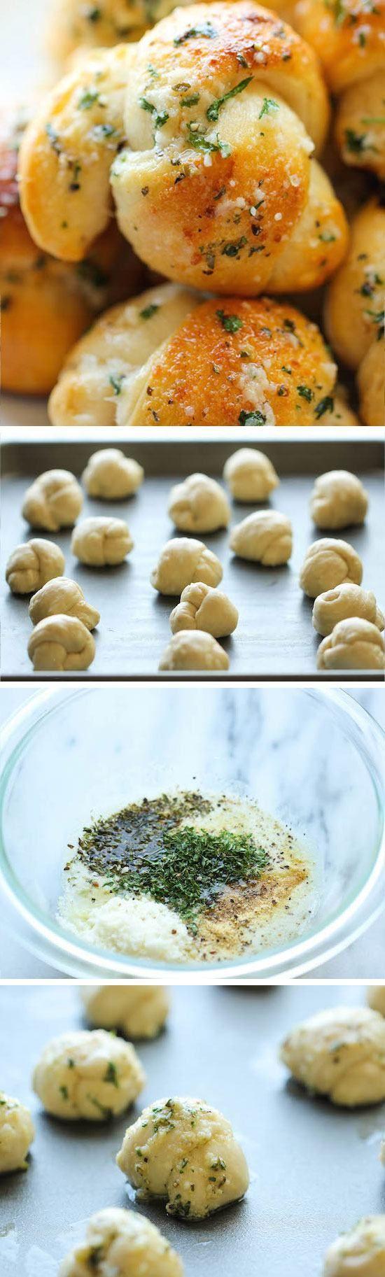 Gemakkelijk Garlic Parmesan Knots |  Makkelijk Pasen Voorgerechten voor een Crowd |  Makkelijk Pasen Voedsel Ideeën + Recepten