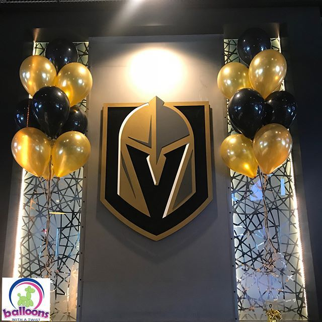 Go Knights Of Course Being From Las Vegas All Of Us Here At Balloons With A Twist Are Las Vegas Gold Knight Birthday Party Vegas Golden Knights Knight Party
