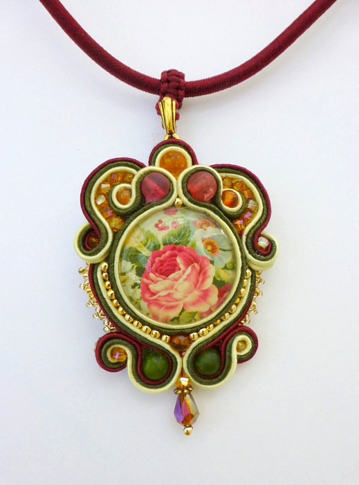 Vintage Rose Soutache Pendant, Cranberry, Ivory and Dark Olive Green Soutache…
