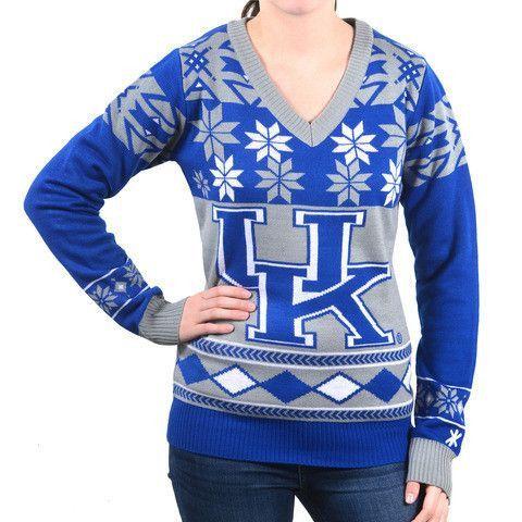 "NCAA Kentucky Wildcats Women's Official ""Big Logo"" V-Neck Sweater by Klew"