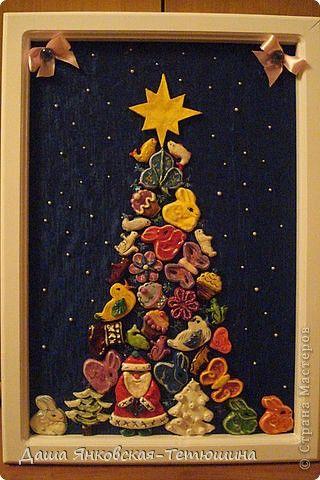 Картина панно рисунок Раннее развитие Новый год Лепка Новогоднее панно из игрушек соленое тесто  Тесто соленое