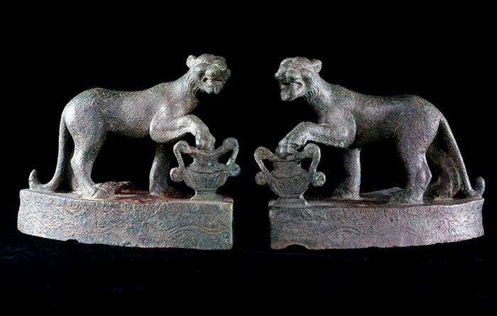 Pair of Roman Bronze Ornaments in the Form of Panthers - X.0186              Origin: Mediterranean            Circa: 1st Century AD to 3rd Century AD