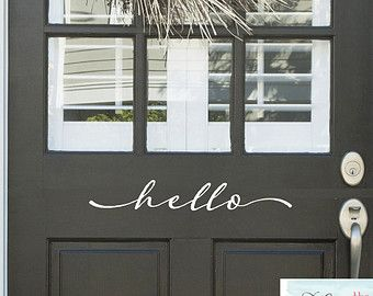 Hello Front Door Decal Vinyl Lettering by StoneCreekWallDecals