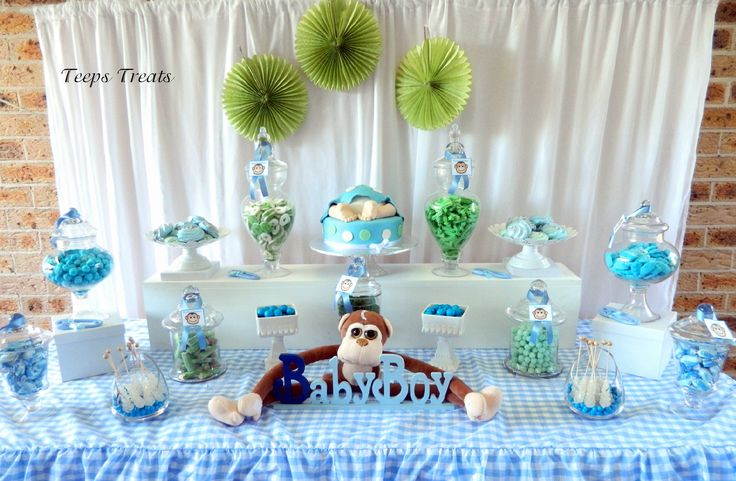 Monkey Baby Shower Blue And Green Candy Buffet