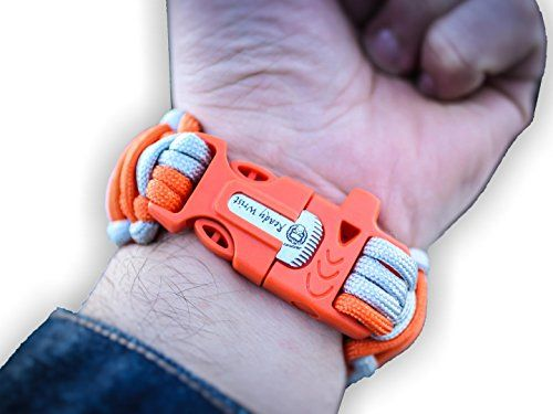 Ready Wrist Paracord Bracelet Survival Emergency Kit with 550 Parachute Cord and Whistle Flint Fire Starter Small  Orange Silver ** Click image for more details.Note:It is affiliate link to Amazon. #l4l