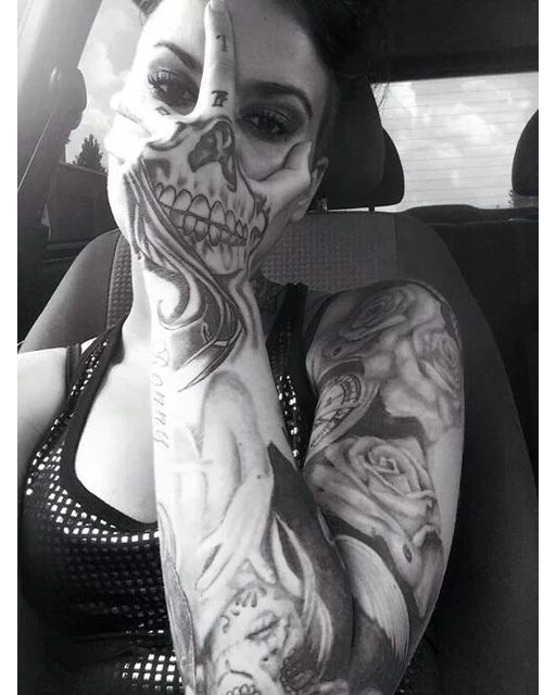 Scary Skull Sleeve Tattoo - you could copy this design in make up & use it as your Halloween outfit inspiration...x