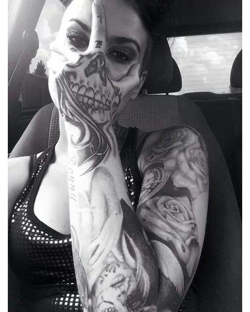 Scary Skull Sleeve Tattoo     #ink #inked #tattooed #tatted