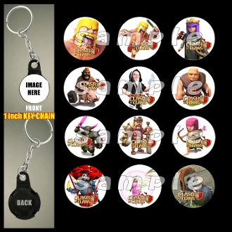 CLASH OF CLANS KEY CHAINS, CLASH OF CLANS party favors, CLASH OF CLANS zipper pulls, CLASH OF CLANS birthday favors